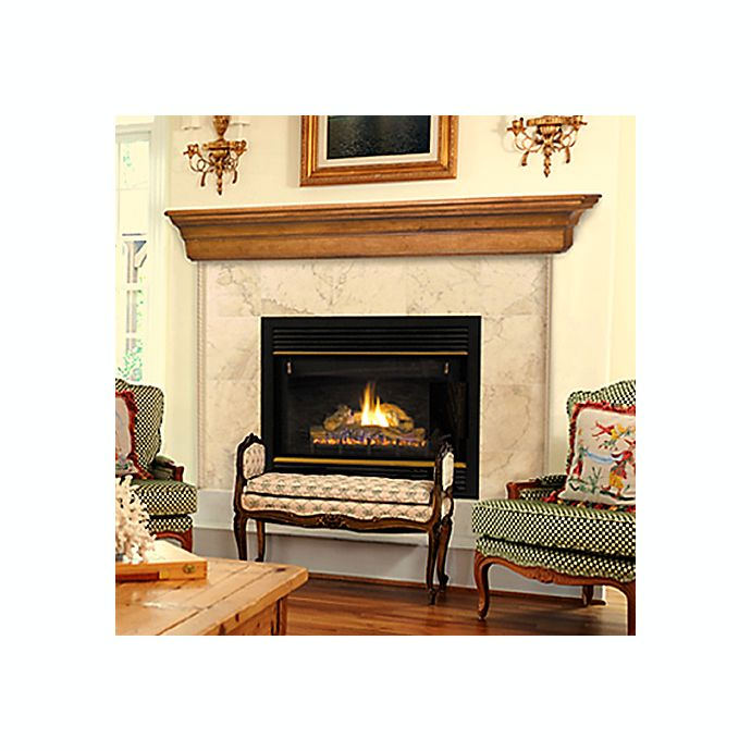 Lindon Mission Oak Finish Fireplace Mantel Shelf Bed