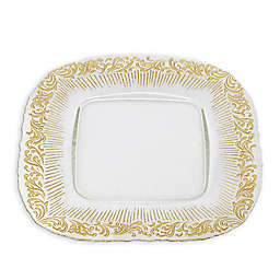 Classic Touch Trophy Lace Square Charger Plates in Gold (Set of 4)