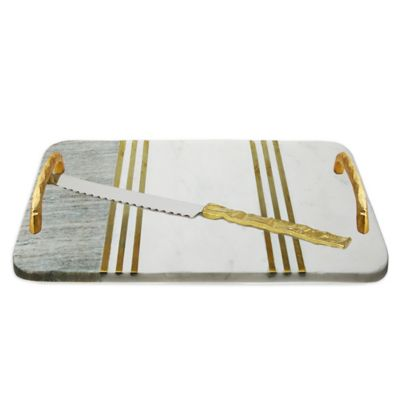 classic touch marble 2 tone 16 inch challah tray with knife bed bath