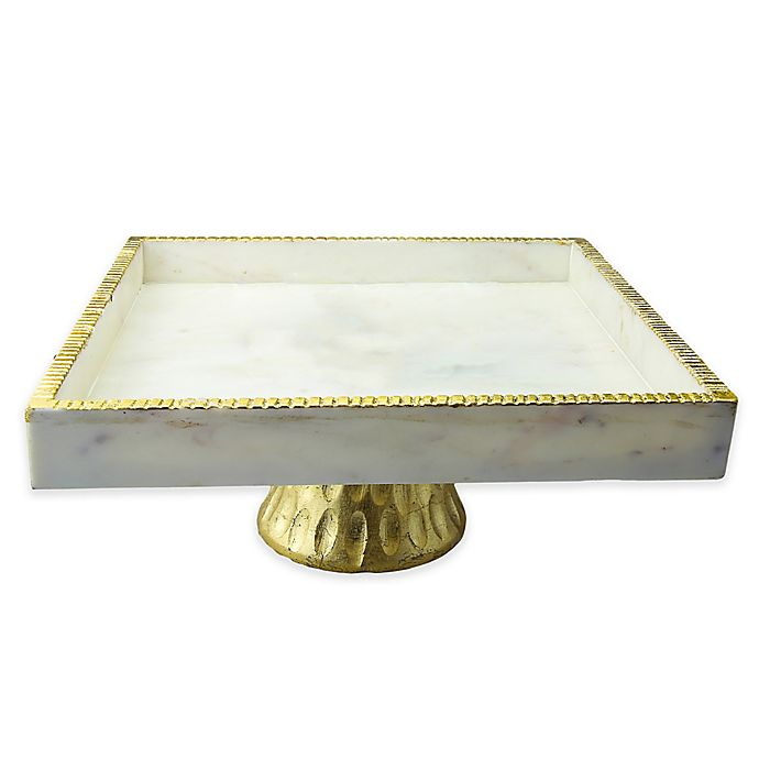 Alternate image 1 for Classic Touch Marble 12-Inch Square Footed Cake Stand