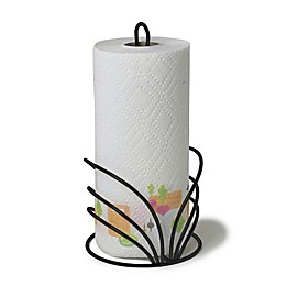 Spectrum Flower Metal Paper Towel Holder in Black