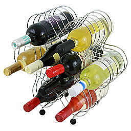 Oenophilia 9-Bottle Atomic Wine Rack in Silver