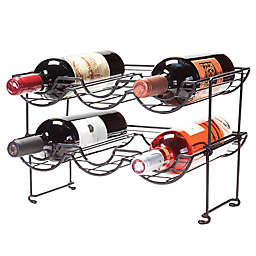 Oenophilia 6-Bottle Halfpipe Stackable Wine Rack in Black
