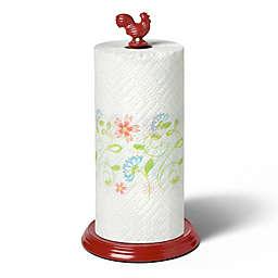 Spectrum Rooster Metal Paper Towel Holder in Red