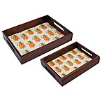 Boston International 2-Piece Carrot Wood Serving Tray Set