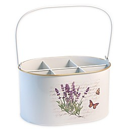 Boston International Butterfly Cutlery Caddy in Lavender/White