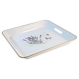 Boston International Butterfly 14-Inch Square Metal Tray in Lavender/White