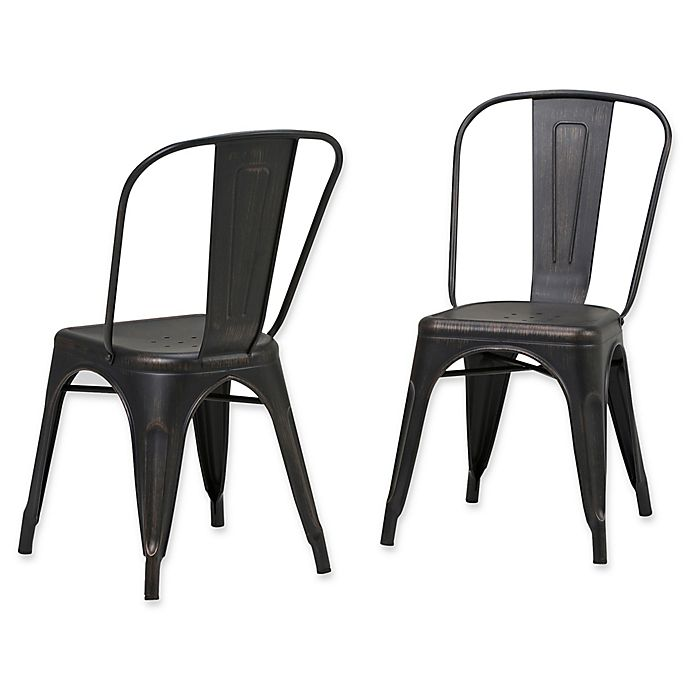 Alternate image 1 for Simpli Home™ Dining Chairs in Black/copper (Set of 2)