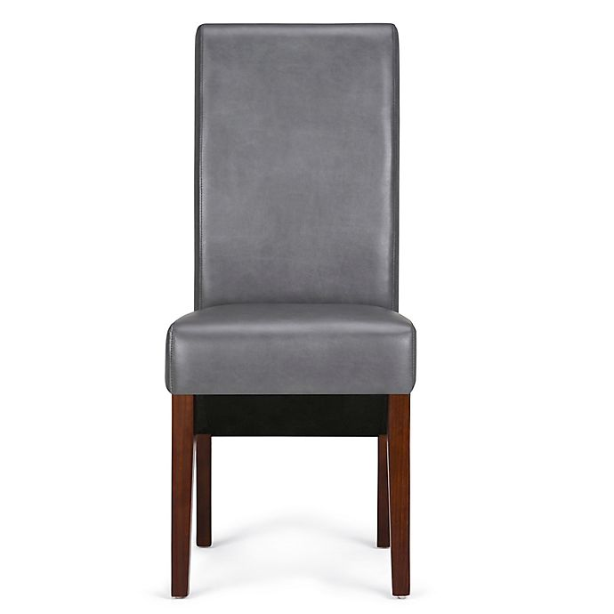 Alternate image 1 for Simpli Home™ Faux Leather Upholstered Dining Chairs in Stone Grey (Set of 2)
