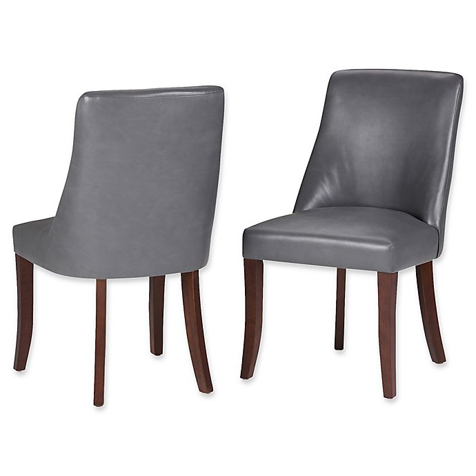 Alternate image 1 for Simpli Home™ Faux Leather Upholstered Dining Chairs in Grey (Set of 2)