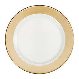 Q Squared Moonbeam Ring Dinner Plates in Gold/White (Set of 4)