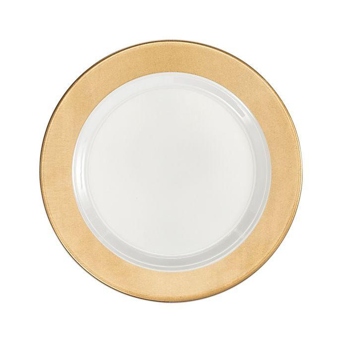Alternate image 1 for Q Squared Moonbeam Ring Salad Plates in Gold/White (Set of 4)