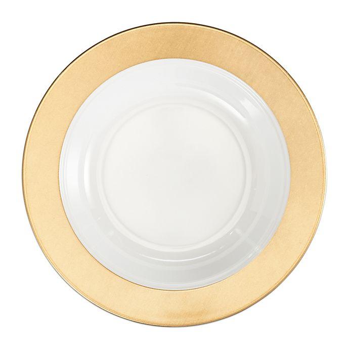 Alternate image 1 for Q Squared Moonbeam Ring Pasta Bowls in Gold/White (Set of 4)