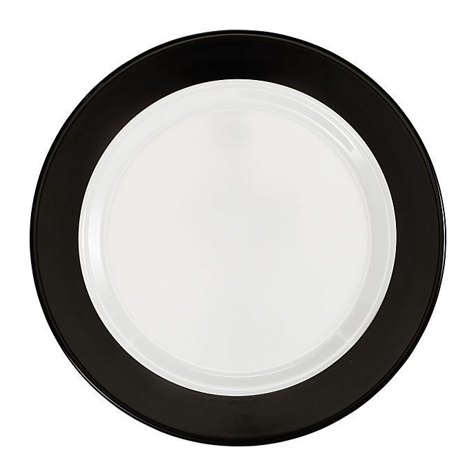 Alternate image 1 for Q Squared Moonbeam Ring Dinner Plates in Black/White (Set of 4)