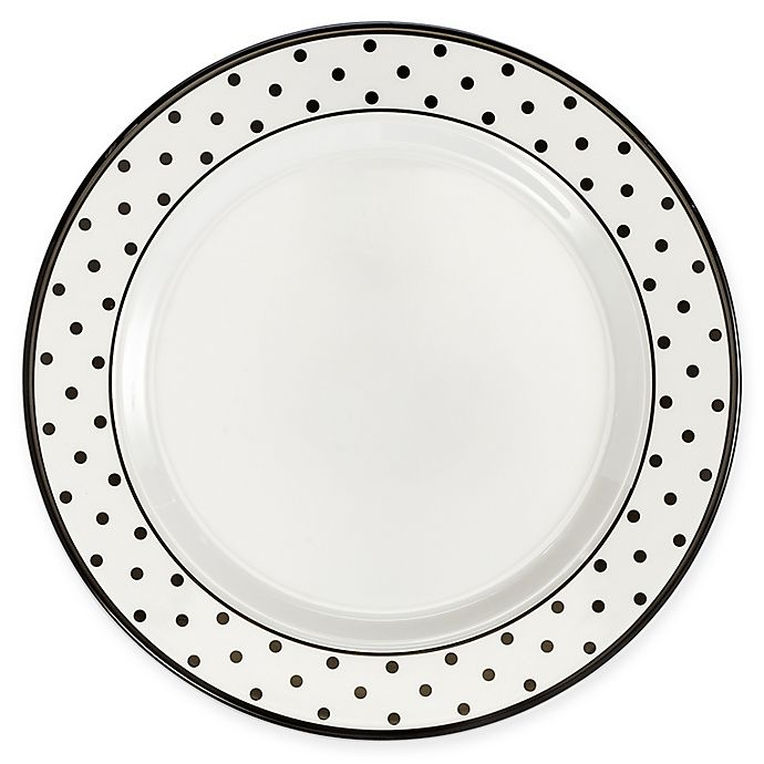 Alternate image 1 for Q Squared Heritage Moonbeam Dots 4-Piece Salad Plate Set in Black/White