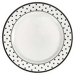 Q Squared Heritage Moonbeam Dots 4-Piece Salad Plate Set in Black/White
