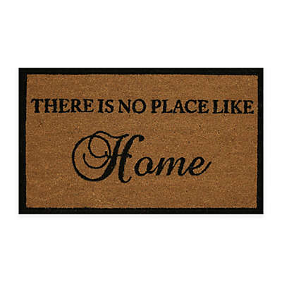 """Dynamic Rugs Vale 18"""" x 30"""" No Place Like Home Coir Door Mat in Ivory/Black"""