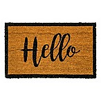 "Dynamic Rugs Vale 18"" x 30"" Hello Border Coir Door Mat in Ivory/Black"