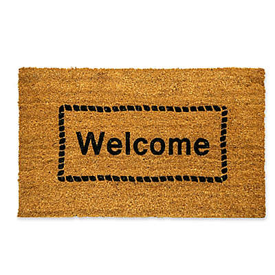"""Dynamic Rugs Vale 18"""" x 30"""" Welcome Framed Coir Door Mat in Ivory"""