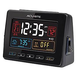 AcuRite® Atomic Dual Alarm Clock with Indoor Temperature in Black