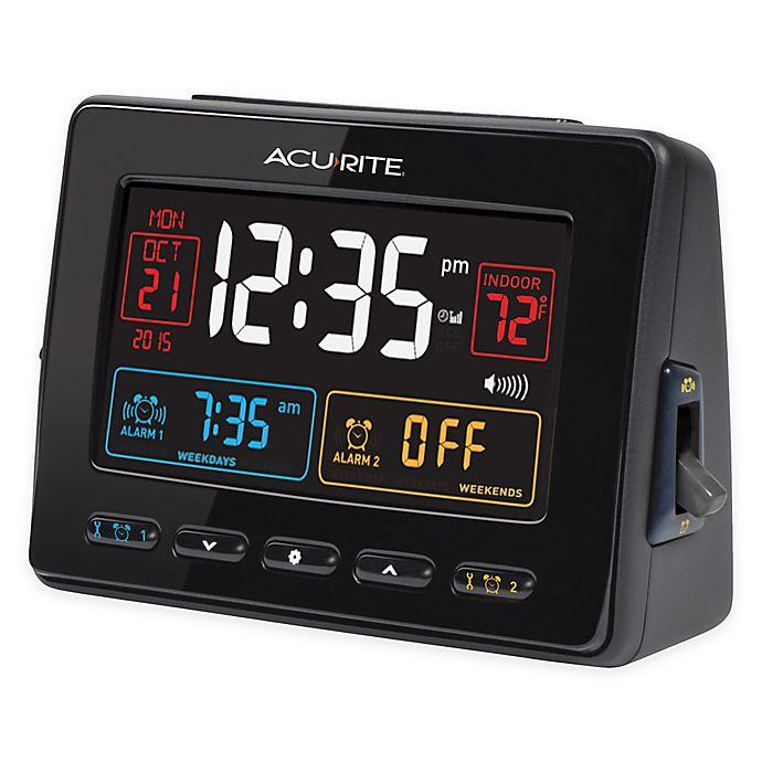 Alternate image 1 for AcuRite® Atomic Dual Alarm Clock with Indoor Temperature in Black
