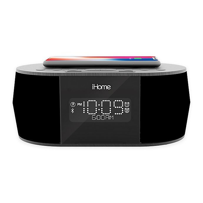 Alternate image 1 for iHome™ Bluetooth Stereo Dual Alarm Clock in Black with Qi Wireless Charging