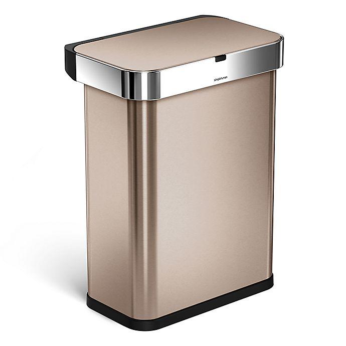 Alternate image 1 for simplehuman® 58-Liter Rectangular Voice/Motion Sensor Trash Can in Rose Gold