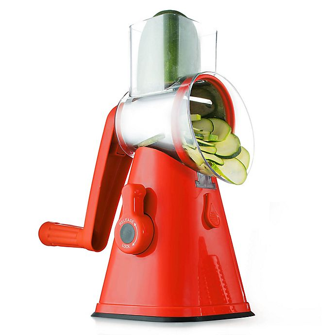 Alternate image 1 for NutriSlicer™ 3-in-1 Spinning/Rotating Mandoline and Countertop Food Slicer in Red