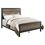 Forest Gate Holter Industrial Modern QueeninSize Wood Metal Bed in Rustic Oak