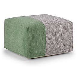 Simpli Home™ Emmett Square Cotton Pouf Chenille Look in Red/Grey