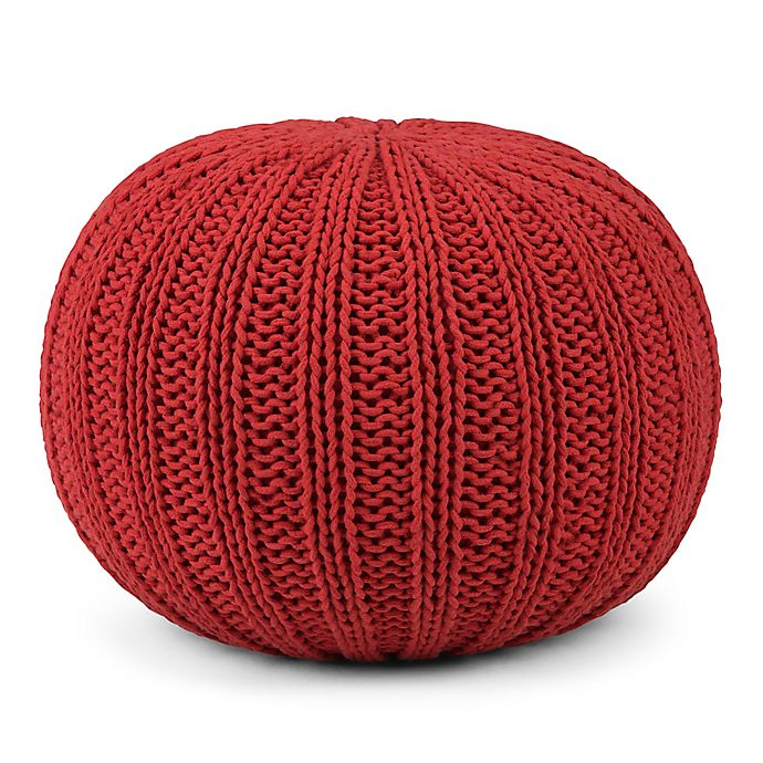 Alternate image 1 for Simpli Home™ Shelby Cotton Round Pouf in Red
