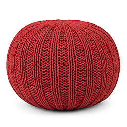Simpli Home™ Shelby Cotton Round Pouf in Red