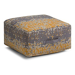 Simpli Home™ Tilley Square Cotton Pouf in Yellow/Grey