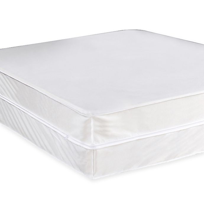 Alternate image 1 for Everfresh Antibacterial Water-Resistant Twin Box Spring Protector in White