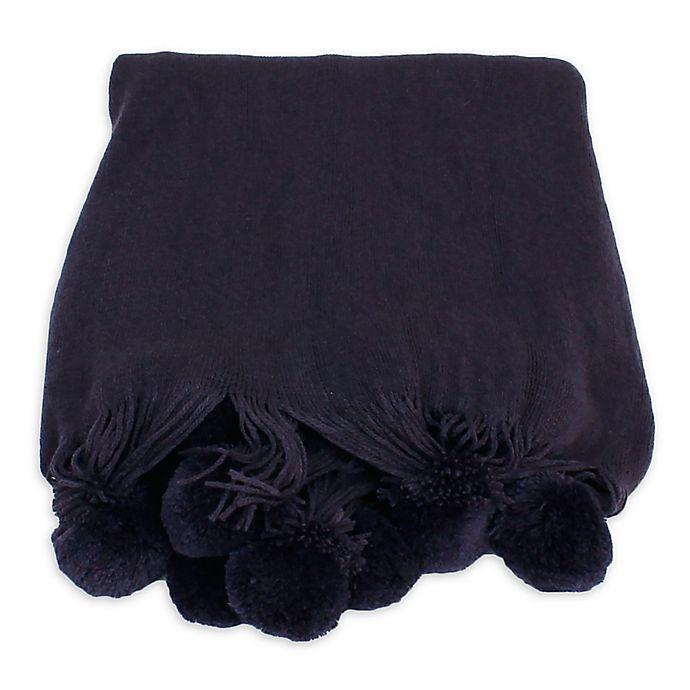 Alternate image 1 for Barbie Pom Pom Knit Throw Blanket in Dark Purple