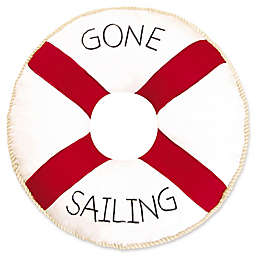 C&F Home Gone Sailing Round Throw Pillow in Red