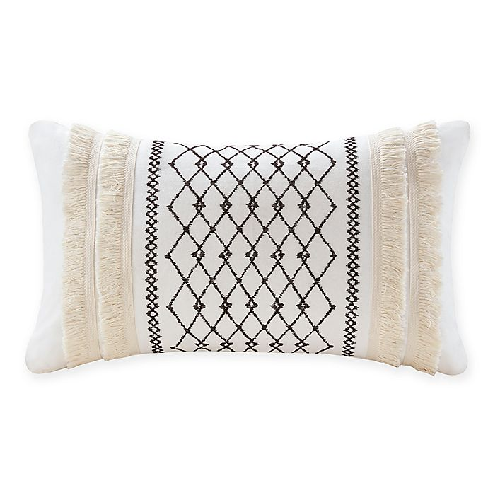Alternate image 1 for INK+IVY Bea Embroidered Rectangular Throw Pillow in Ivory