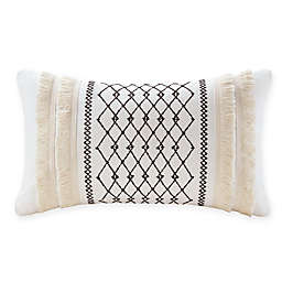 INK+IVY Bea Embroidered Rectangular Throw Pillow in Ivory
