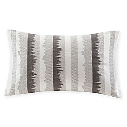 INK+IVY Bea Embroidered Rectangular Throw Pillow in Grey