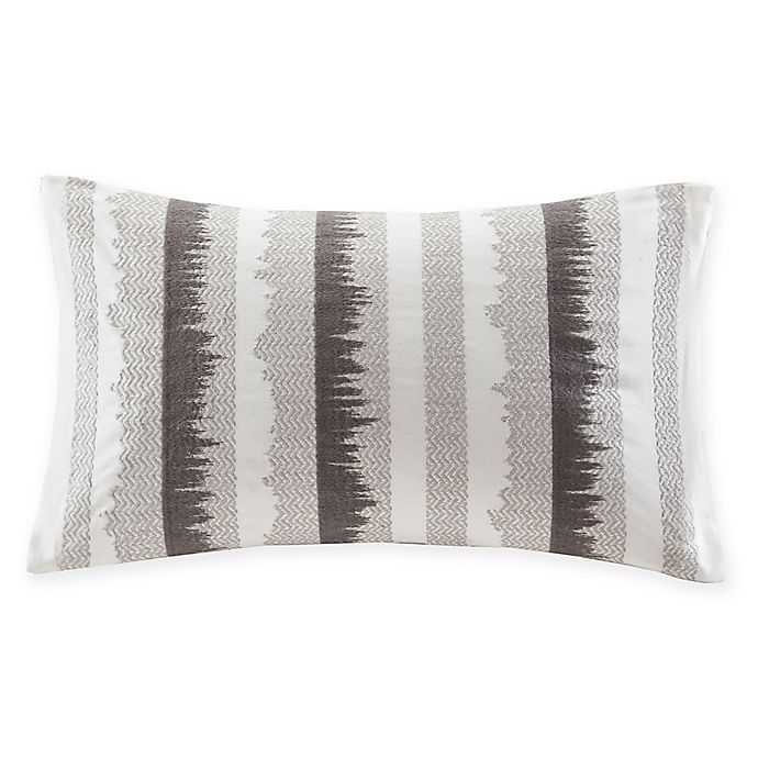 Alternate image 1 for INK+IVY Bea Embroidered Rectangular Throw Pillow in Grey