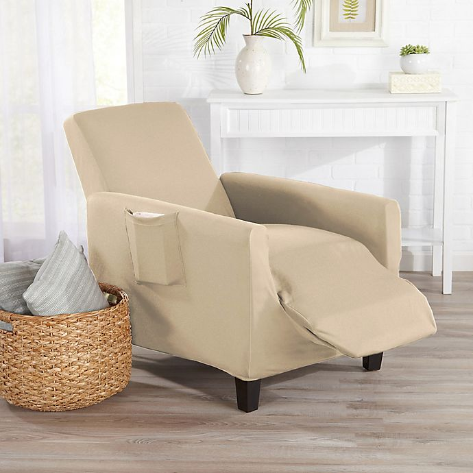 Alternate image 1 for Great Bay Home Dawson Stretch Recliner Slipcover in Cream