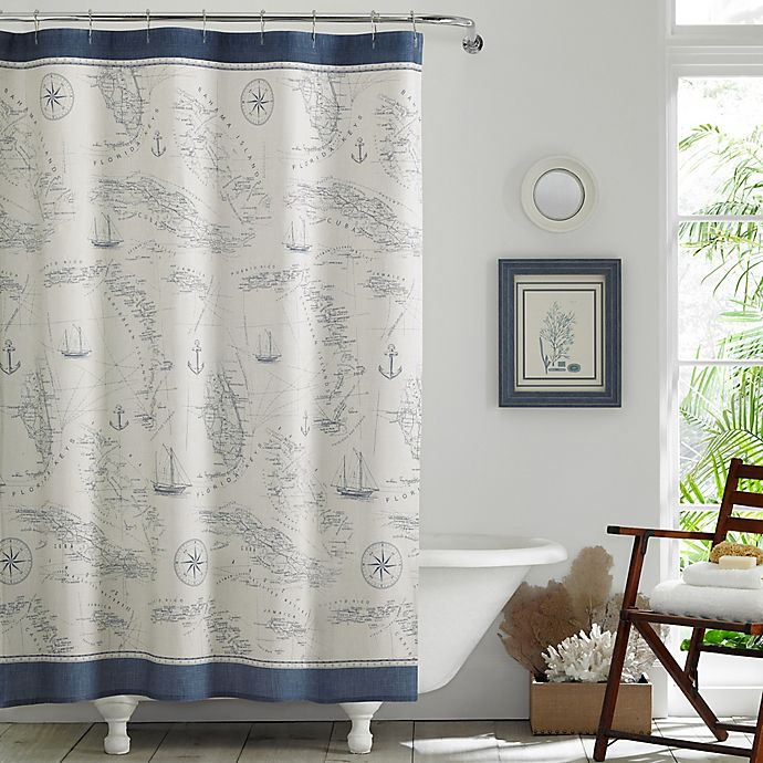 Alternate image 1 for Tommy Bahama® Caribbean Sea Shower Curtain in Blue