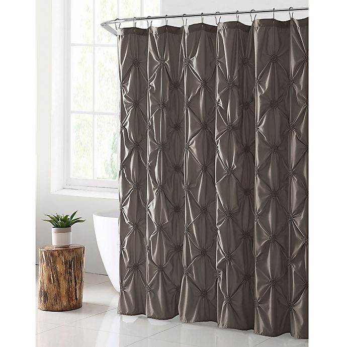 Alternate image 1 for VCNY Home Floral Burst Shower Curtain in Taupe
