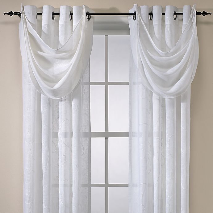 Cosmo Embroidered Grommet Window Curtain Panels 100 Linen Bed