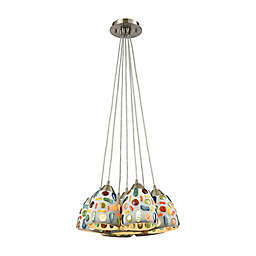 ELK Lighting Gemstones 28-Inch 7-Light Pendant in Satin Nickel