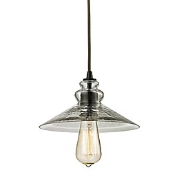 ELK Lighting Hammered Shade 1-Light Pendant in Oil Rubbed Bronze with Smoke Shades