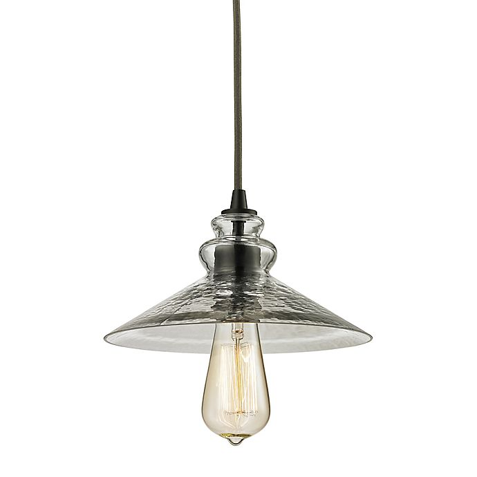 Alternate image 1 for ELK Lighting Hammered Shade 1-Light Pendant in Oil Rubbed Bronze with Smoke Shades