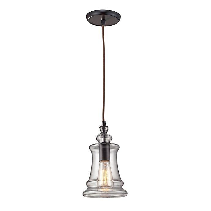 Alternate image 1 for ELK Lighting Menlow Park 1-Light Bell-Shaped Pendant in Oil Rubbed Bronze