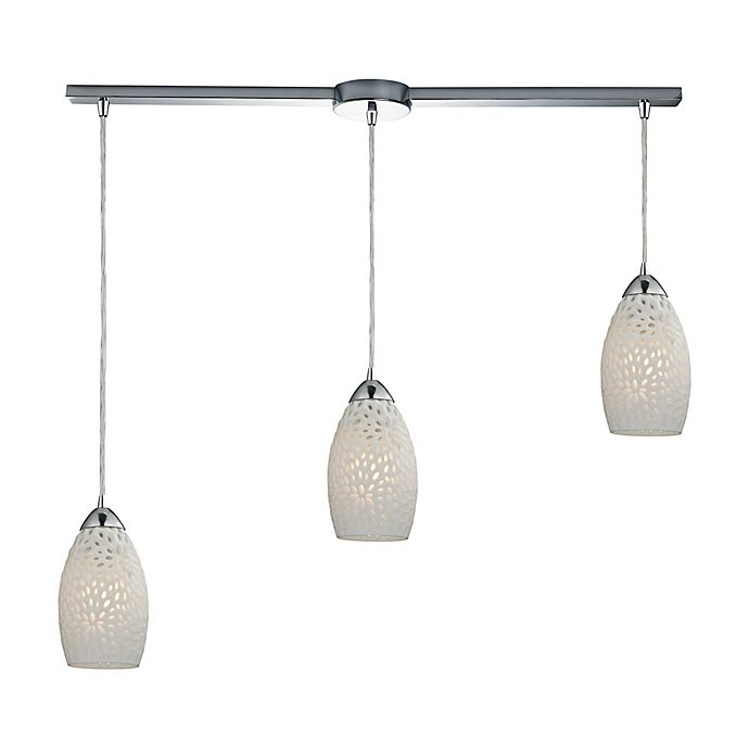 Alternate image 1 for ELK Lighting Etched 3-Light Linear Pendant in Polished Chrome with White Glass Shades