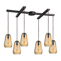 ELK Lighting Orbital 6-Light Pendant in Oil Rubbed Bronze with Teak Shade